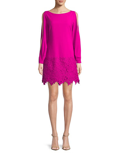 Laundry By Shelli Segal Lace-Trimmed Shift Dress-PINK-4