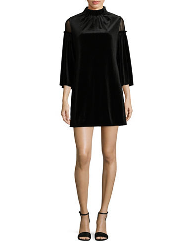 Laundry By Shelli Segal Velvet & Mesh Shift Dress-BLACK-14