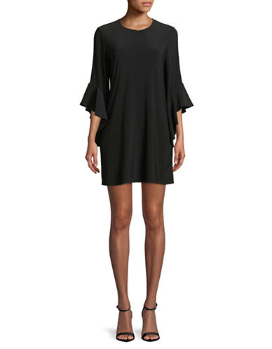 Laundry By Shelli Segal Flutter-Sleeve Shift Dress-BLACK-Large