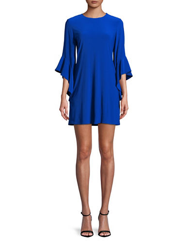 Laundry By Shelli Segal Flutter-Sleeve Shift Dress-BLUE-X-Small