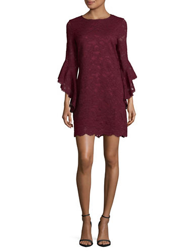 Laundry By Shelli Segal Flutter Lace Bell Sleeve Dress-RED-4