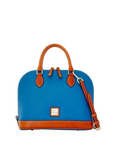 Dooney & Bourke Pebbled Leather Zip Satchel-LIGHT BLUE-One Size