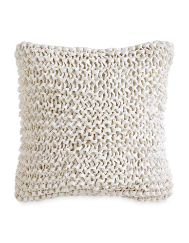 Dkny City Pleat Chunky Ribbon Knit Cotton Pillow-WHITE-14x14