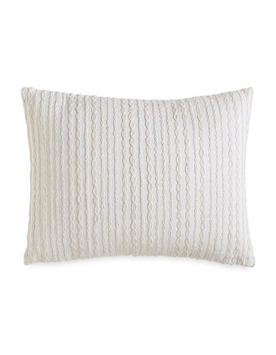 Dkny City Pleat Embroidered Cotton Pillow-WHITE-One Size