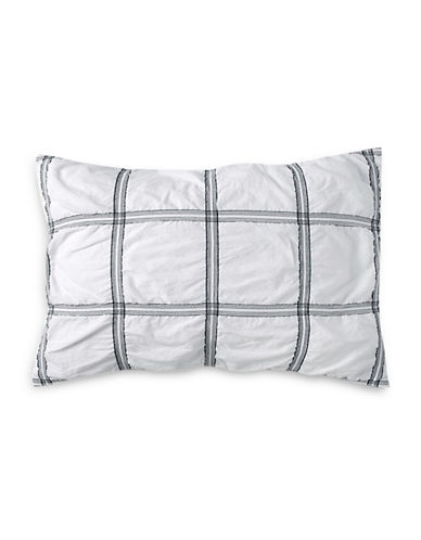 Dkny Check Please Cotton Sham-WHITE-Standard
