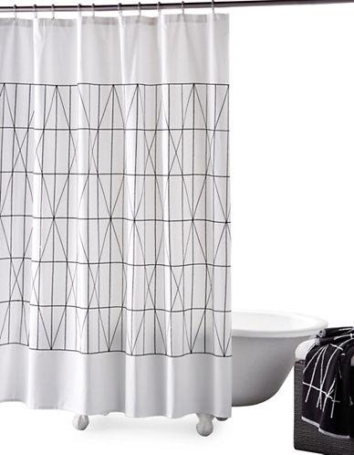 Dkny Geometrix Cotton Shower Curtain-WHITE-One Size