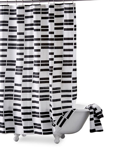 Dkny High Rise Cotton Shower Curtain-WHITE/BLACK-One Size