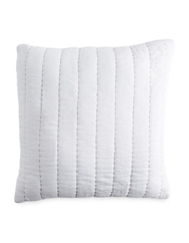 Dkny Quilted Voile Cotton Cushion-WHITE-18x18