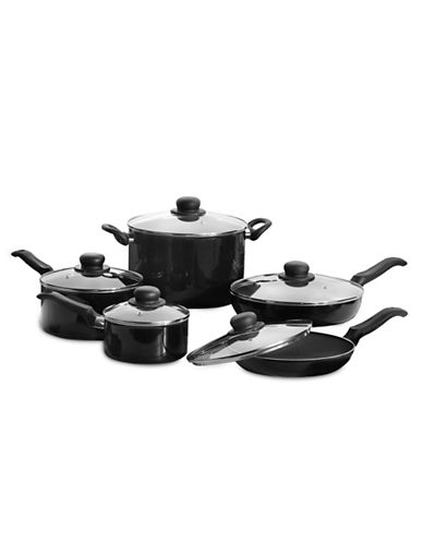 Ballarini Ten-Piece Ballarini Firenze Non-Stick Cookware Set-BLACK-One Size