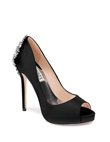 Badgley Mischka Kiara Satin Platform Pump-BLACK-6.5