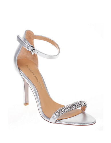 Badgley Mischka Elope II Leather Open Toe with Single Strap-SILVER-8.5
