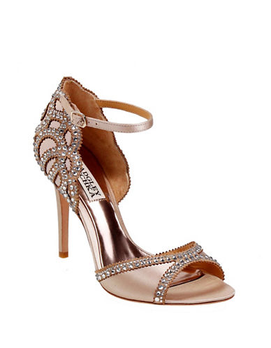 Badgley Mischka Roxy Ankle Strap Rhinestone Sandals-NUDE-7