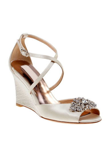 Badgley Mischka Abigail Crossed Strap Satin Wedges-IVORY-5.5