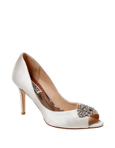 Badgley Mischka Accent Satin Peep-Toe Pumps-IVORY-7.5
