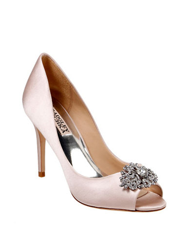 Badgley Mischka Accent Satin Peep-Toe Pumps-LIGHT PINK-10