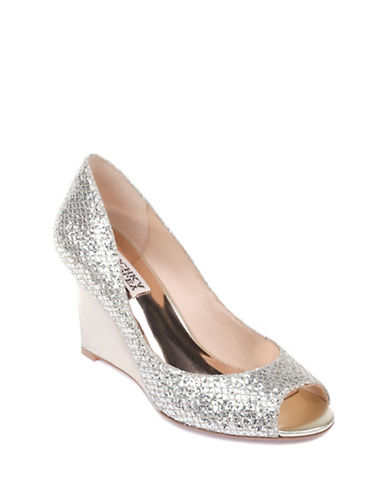 Badgley Mischka Awake Peep-Toe Wedge Shoes-PLATINO-7.5
