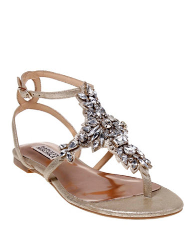 Badgley Mischka Cara II Embellished Metallic Leather Sandals-PLATINO-7