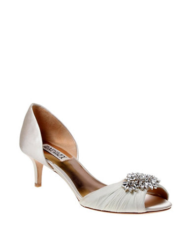 Badgley Mischka Caitlin Satin Peep Toe Pumps-IVORY-7