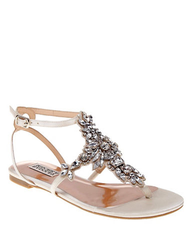 Badgley Mischka Cara Embellished Flat Sandals-IVORY-8.5