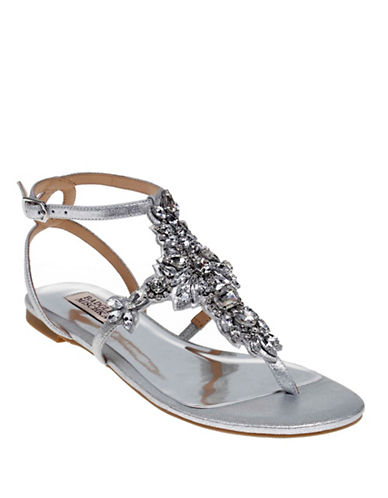 Badgley Mischka Cara II Embellished Metallic Leather Sandals-SILVER-5.5