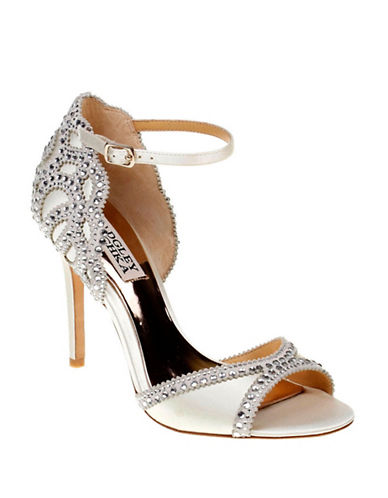Badgley Mischka Roxy Ankle Strap Rhinestone Sandals-IVORY-7.5