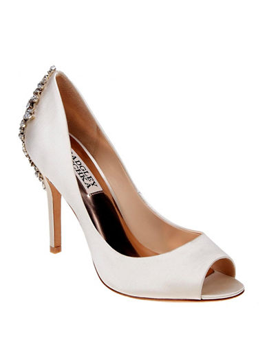 Badgley Mischka Nilla Satin Embellished Heels-IVORY-9