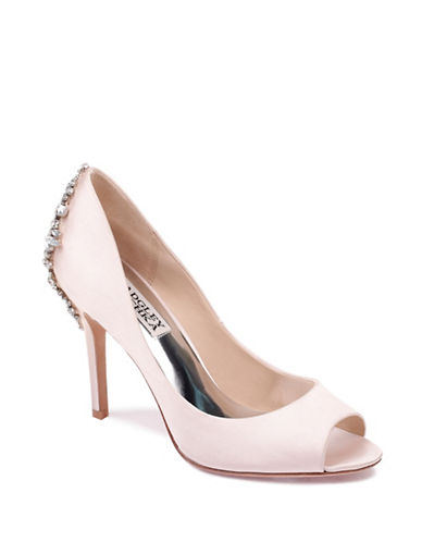 Badgley Mischka Nilla Satin Embellished Heels-LIGHT PINK-10