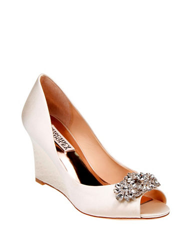 Badgley Mischka Dara Peep-Toe Wedge Shoes-IVORY-9.5