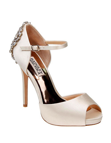 Badgley Mischka Dawn Peep Toe Ankle Strap Pumps-IVORY-10