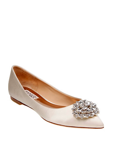 Badgley Mischka Davis Satin Pointed Toe Flats-IVORY-8.5