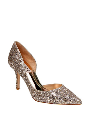 Badgley Mischka Daisy Glitter Pointed Toe Heels-PLATINO-9
