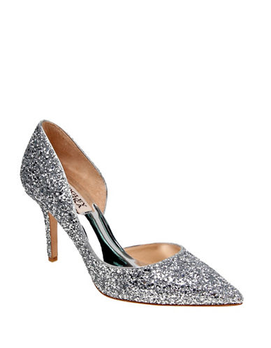 Badgley Mischka Daisy Glitter Pointed Toe Heels-SILVER-6.5