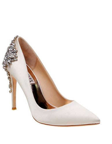Badgley Mischka Satin Pointed Toe Heel-IVORY-8.5