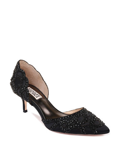 Badgley Mischka Ginny Satin DOrsay Pointed Heels-BLACK SATIN-7.5