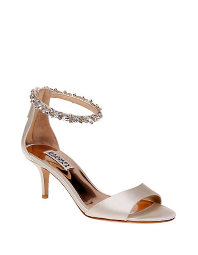 Badgley Mischka Geranium Embellish Satin Ankle-Strap Pumps-IVORY-6