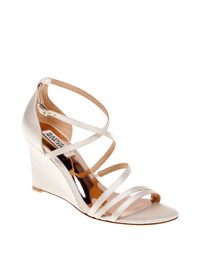 Badgley Mischka Bonanza Satin Wedge Sandals-IVORY-7.5