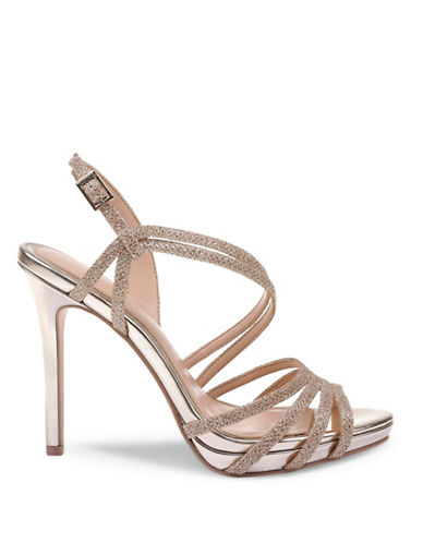 Jewel Badgley Mischka Humble Sparkle Strap Sandals-GOLD GLITTER-8.5