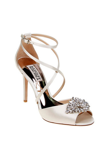 Badgley Mischka Tatum Embellished Satin Ankle-Strap Pumps-IVORY-6.5