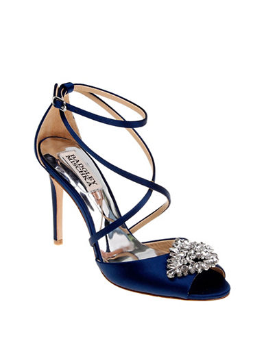 Badgley Mischka Tatum Embellished Satin Ankle-Strap Pumps-NAVY-8.5