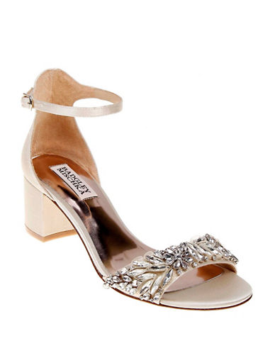 Badgley Mischka Tamara Ankle Strap Block Heels-IVORY-9.5