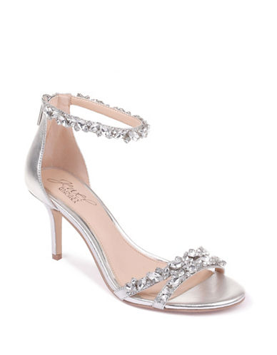 Jewel Badgley Mischka Caroline Satin Sandals-SILVER METALLIC-10