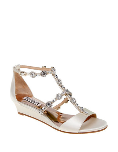 Badgley Mischka Terry Embellished Strap Sandals-IVORY-8.5
