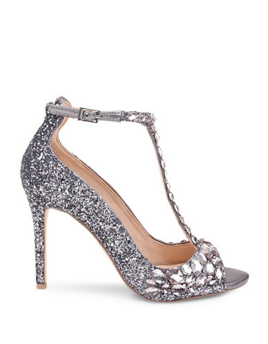 Jewel Badgley Mischka Conroy Beaded Satin Sandals-SMOKE GLITTER-9.5