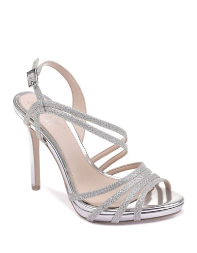 Jewel Badgley Mischka Humble Sparkle Strap Sandals-SILVER-9.5