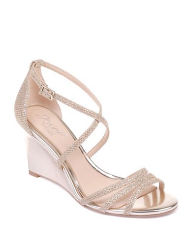 Jewel Badgley Mischka Hunt Textured Wedge Sandals-GOLD-5.5