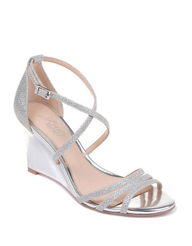 Jewel Badgley Mischka Hunt Textured Wedge Sandals-SILVER-9.5