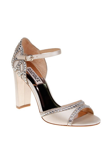Badgley Mischka Kelly Satin Block Heel Sandals-IVORY SATIN-9