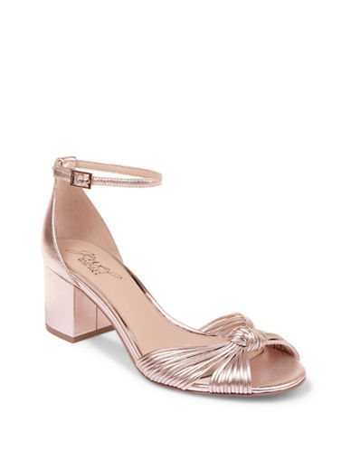 Jewel Badgley Mischka Lacey Metallic Leather Block-Heeled Shoes-ROSE GOLD METALLIC-7.5