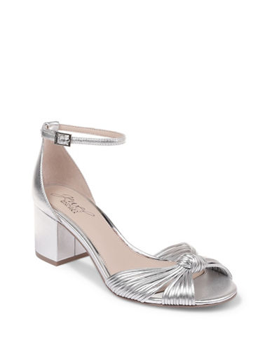 Jewel Badgley Mischka Lacy Metallic Kid Leather Block Sandal Heels-SILVER METALLIC-5