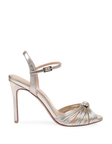 Jewel Badgley Mischka Lady Metallic Satin Sandals-GOLD METALLIC-11